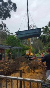 pool shell crane hire